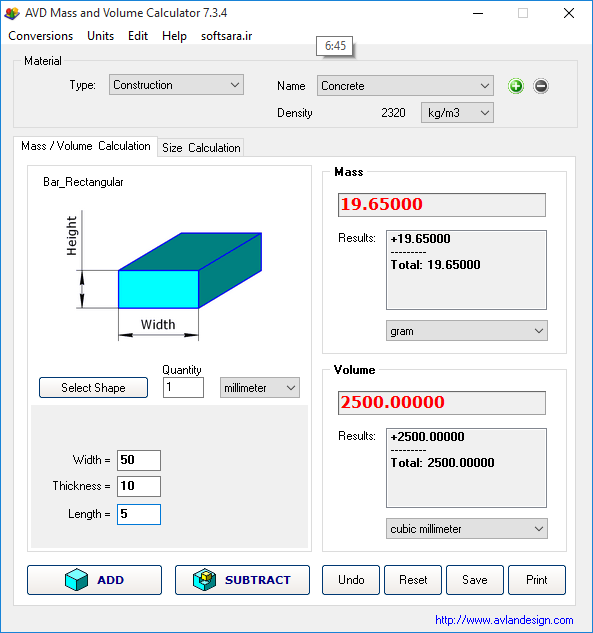 دانلود نرم افزار AVD Mass And Volume Calculator