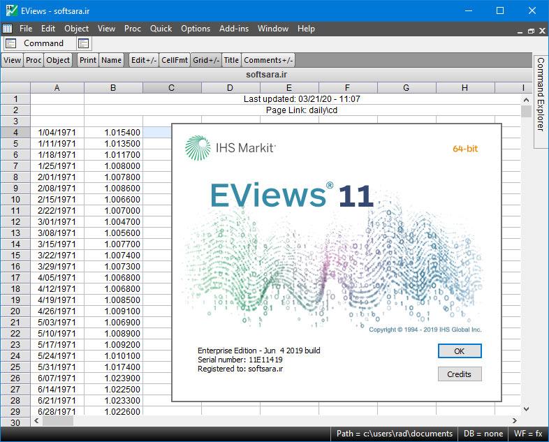 دانلود نرم افزار EViews 11