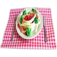 آموزش ساخت اوریگامی بشقاب اسپاگتی به همراه سس و سبزیجات