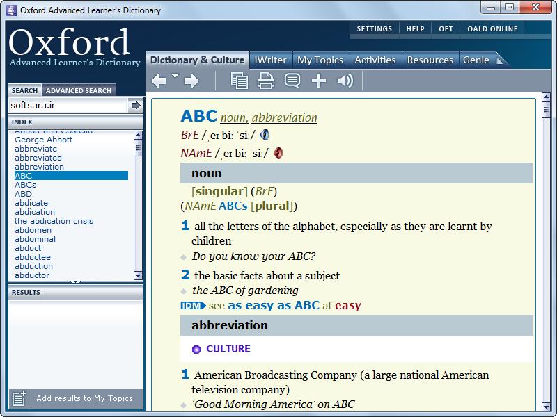 دانلود نرم افزار Oxford Advanced Learner's Dictionary