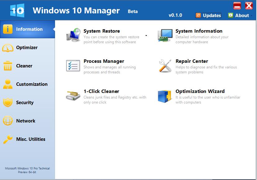 دانلود نرم افزار Windows 10 Manager