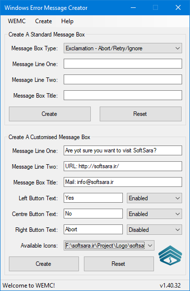 Windows Error Message Creator - Main
