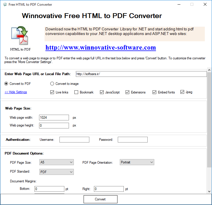 Winnovative Free HTML to PDF Converter