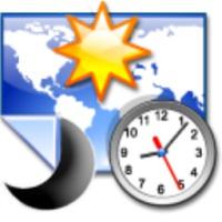نمایش نقشه جهان و موقعیت خورشید و ماه در یک تاریخ خاص