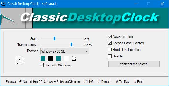ClassicDesktopClock Settings