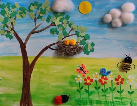 کاردستی نقاشی طبیعت تابستانی