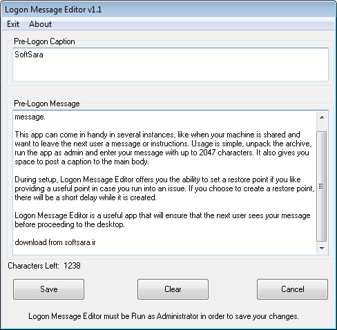 دانلود نرم افزار Logon Message Editor