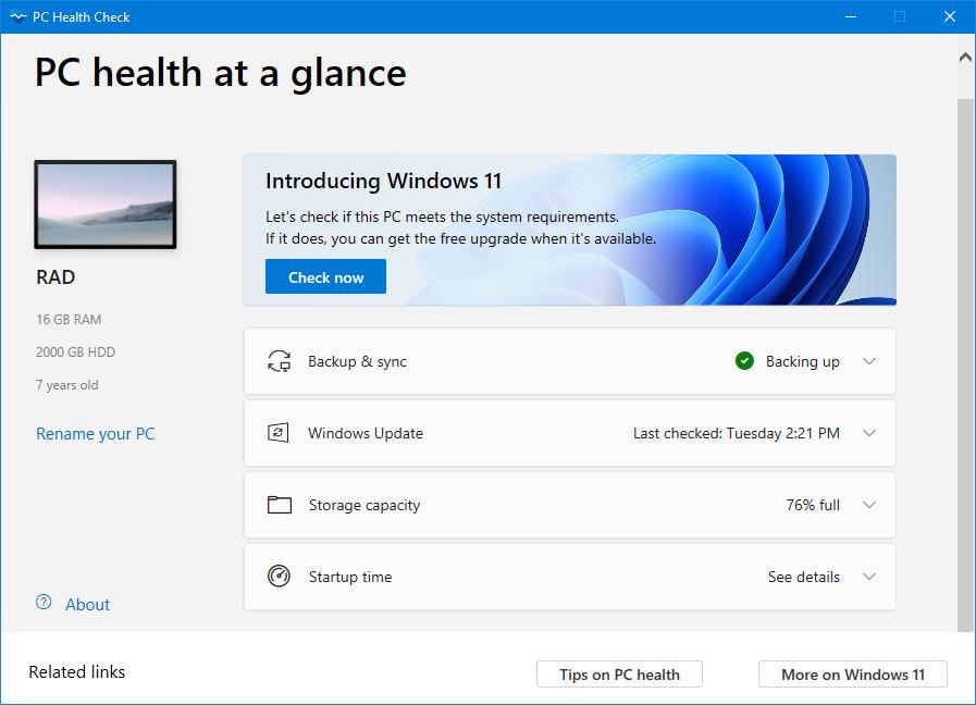 دانلود نرم افزار Windows PC Health Check